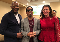 Jake Jones, WPA Honorary Board member and Executive Director, External Affairs & Public Policy at Daimler, and wife Veronica Nyhan-Jones visit jazz pianist Matthew Whitaker backstage